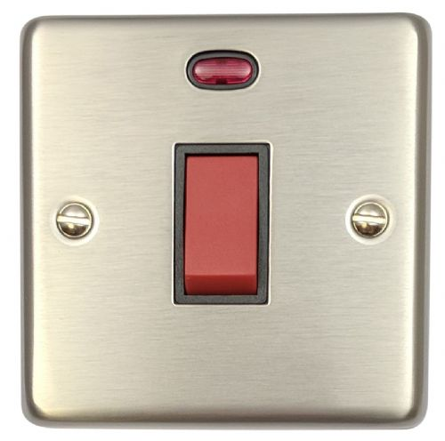 G&H CSS46B Standard Plate Brushed Steel 45 Amp DP Cooker Switch & Neon Single Plate